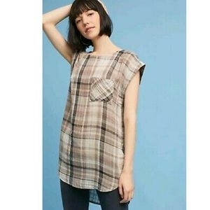 Cap Sleeve Gingham Shimmer Tunic Top